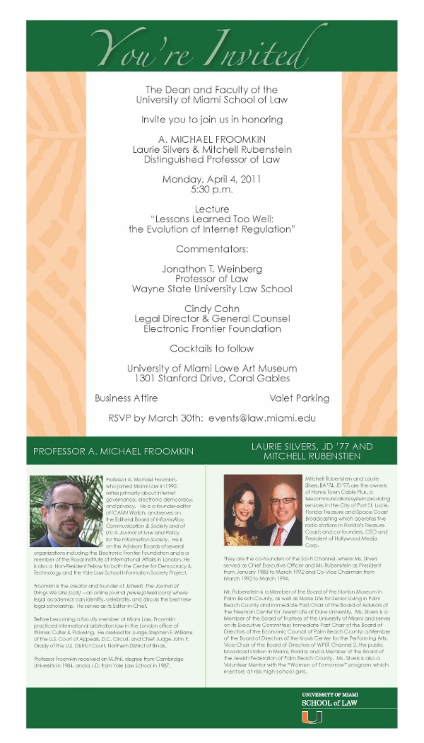 Froomkin Lecture Invitation (click for larger image)